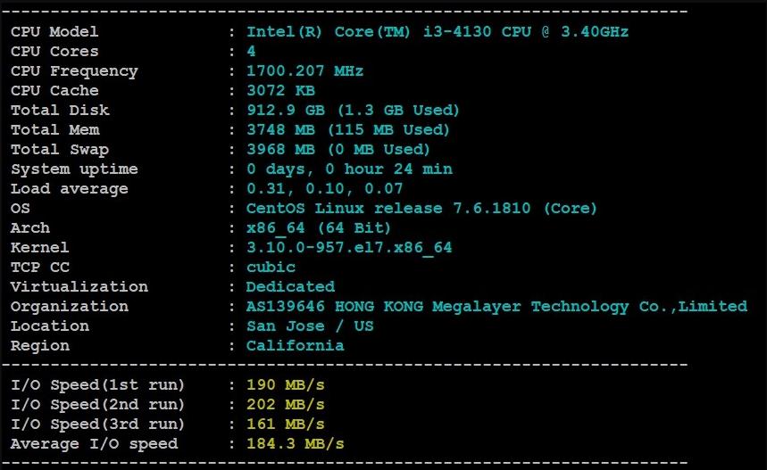Megalayer美国服务器的基本性能配置测试