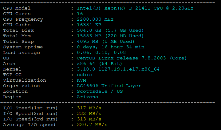 BlueHost美国服务器DS1-SSD的CPU和I/O读写测试