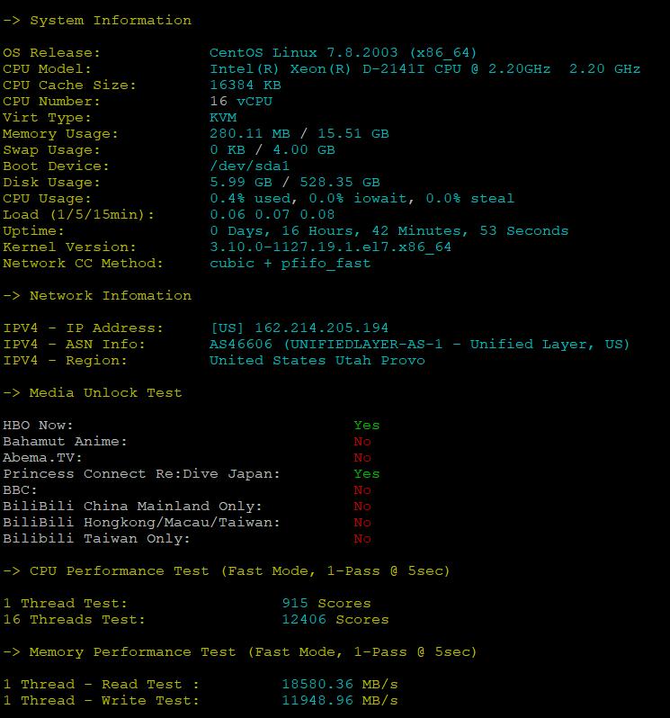 BlueHost美国服务器DS1-SSD的CPU内存现成测试